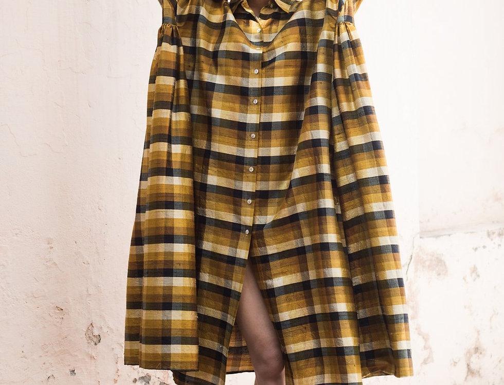 Raw Silk Artist Dress | topaz check