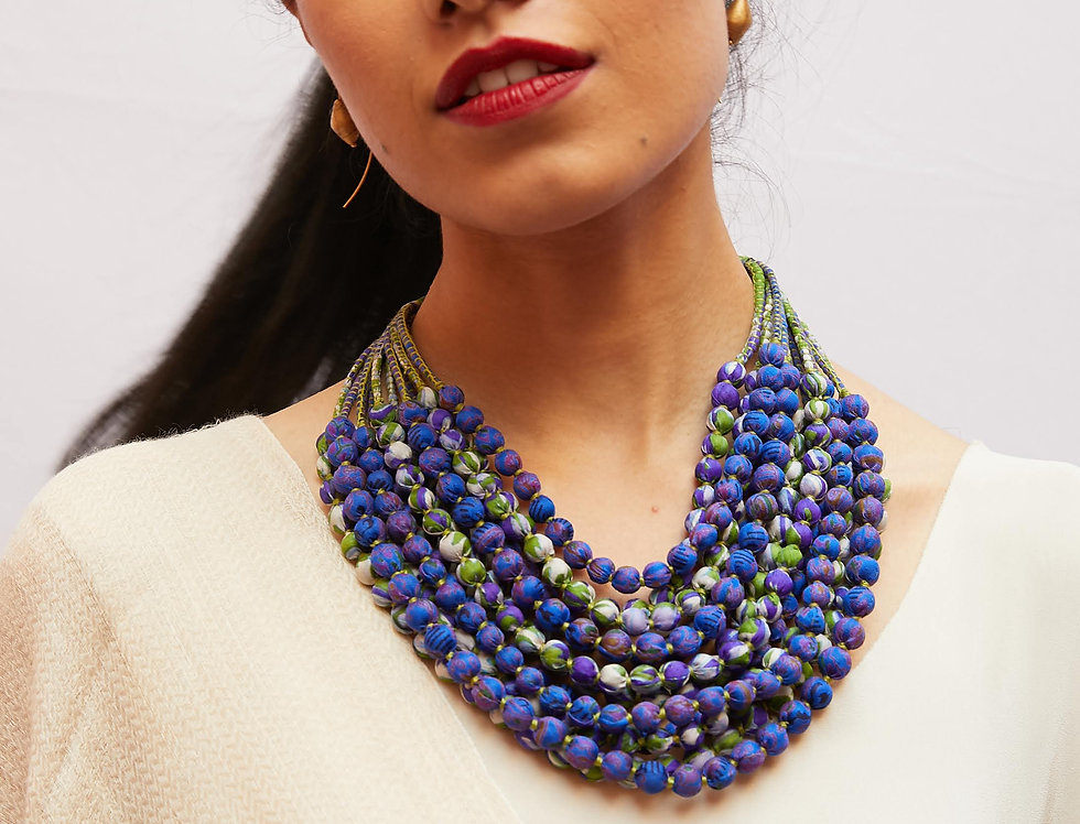 Sari Bead Necklace - 12 string | purple & spring green