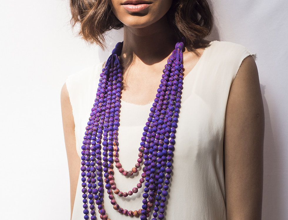 Sari Bead Necklace - 7 string | royal purple