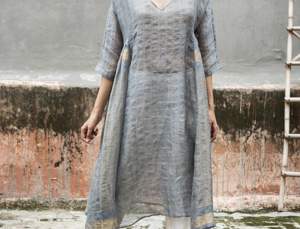 Lineya Linen Milos Dress | slate blue & silver