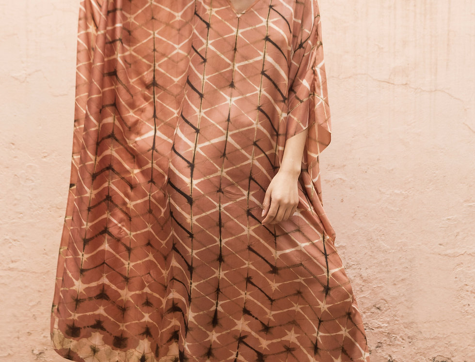 Itajime Silk Kaftan | terracotta