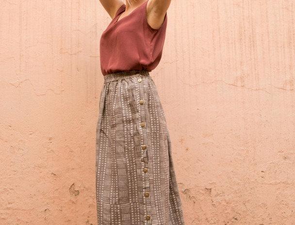 Dabu Linen Button-down Skirt