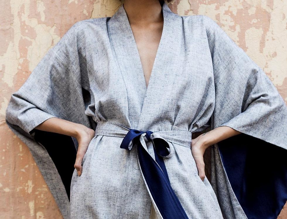 Eri Peace Silk Kimono | indigo chambray
