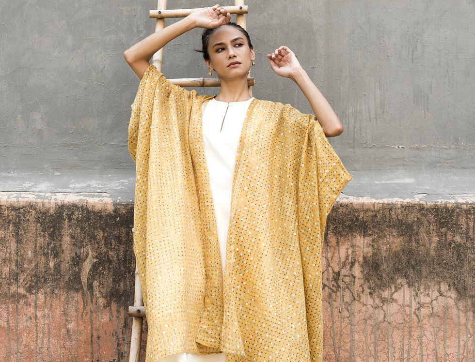 Block Print Silk-Cotton Dune Robe