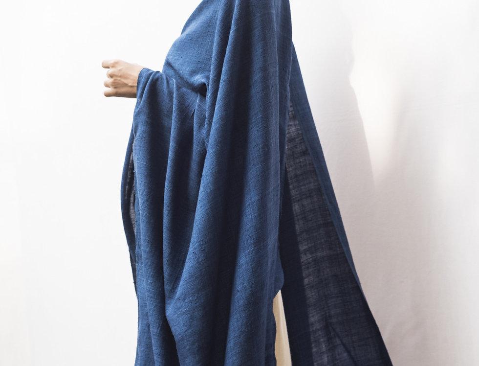 Mulberry Peace Silk Wrap | organic indigo blue