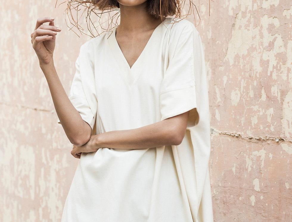 Eri Peace Silk Box Dress   ivory