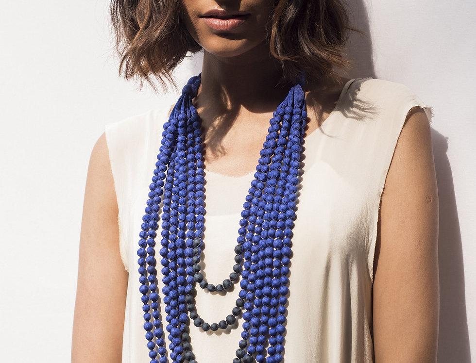 Sari Bead Necklace - 7 string | cornflower blue & black