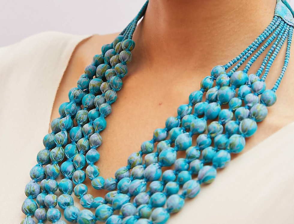 Sari Bead Necklace - 6 string | turquoise II