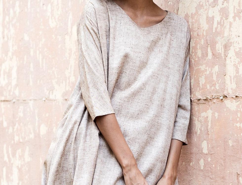 Eri Peace Silk Trapeze Dress | ochre chambray