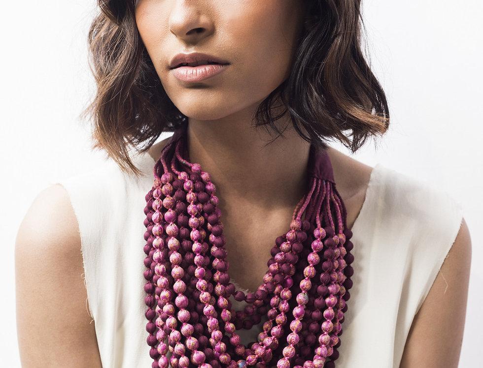 Sari Bead Necklace - 22 string | pink & plum