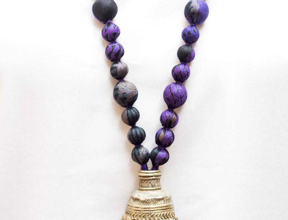Sari Bead Necklace - jhumka | black & purple