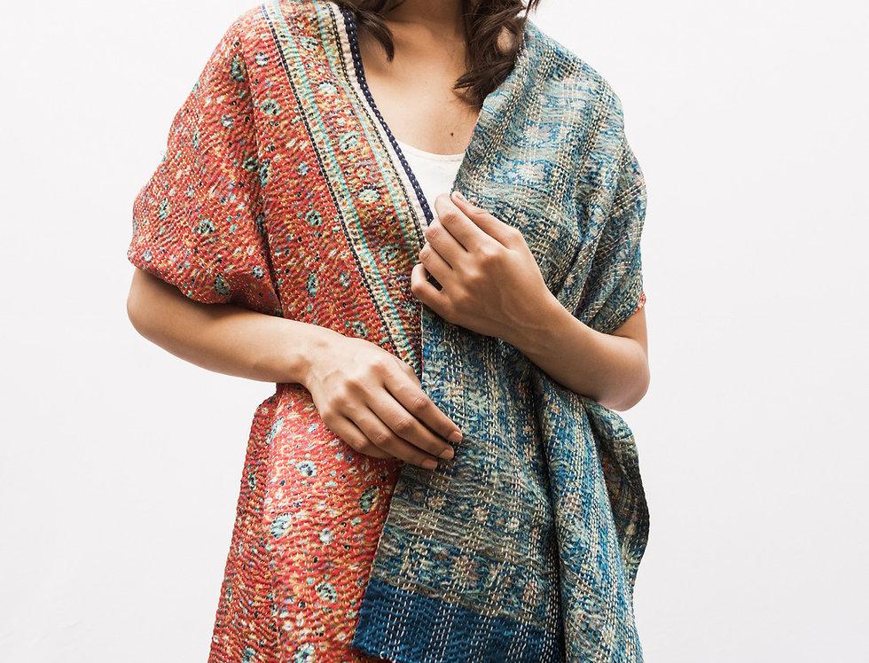 Kantha Sari Scarf | rust red & baby blue