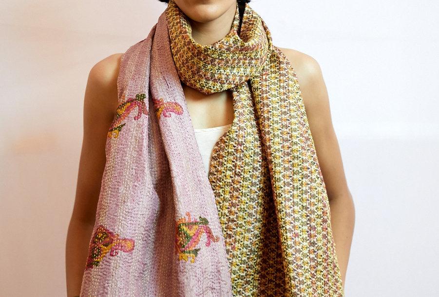 Kantha Sari Scarf | washed pink & paisley