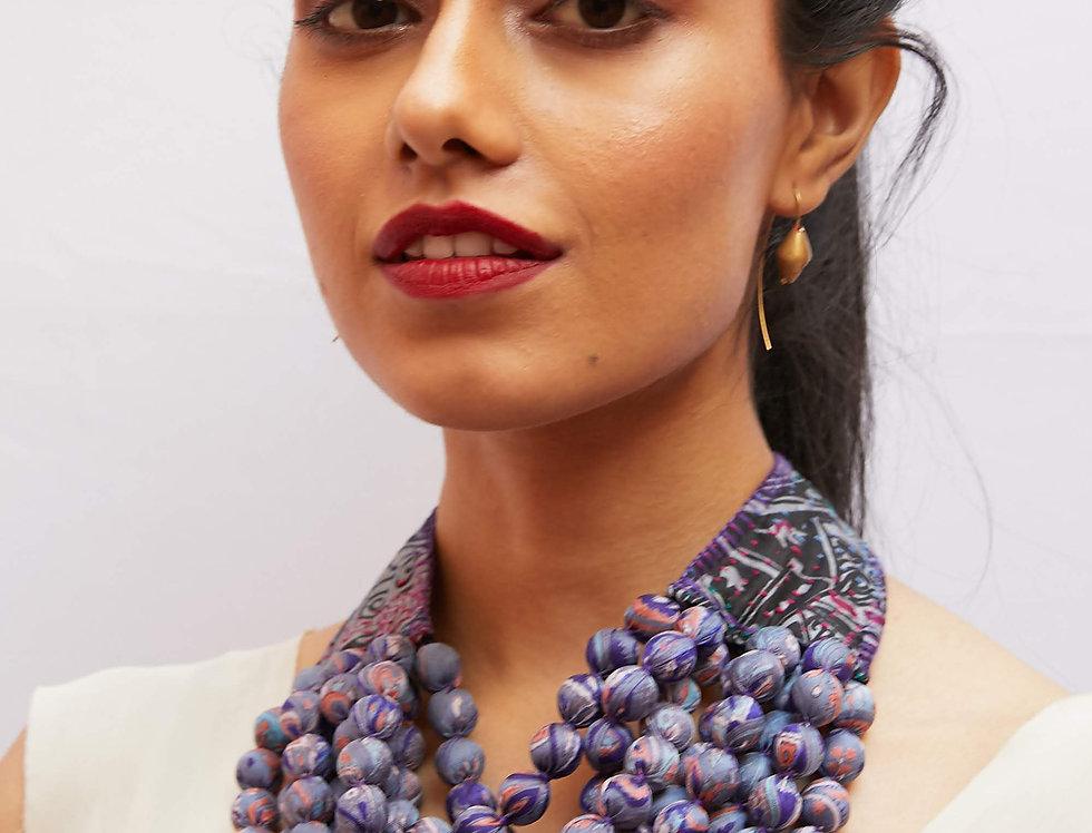 Kantha Beaded Necklace | silvered violet