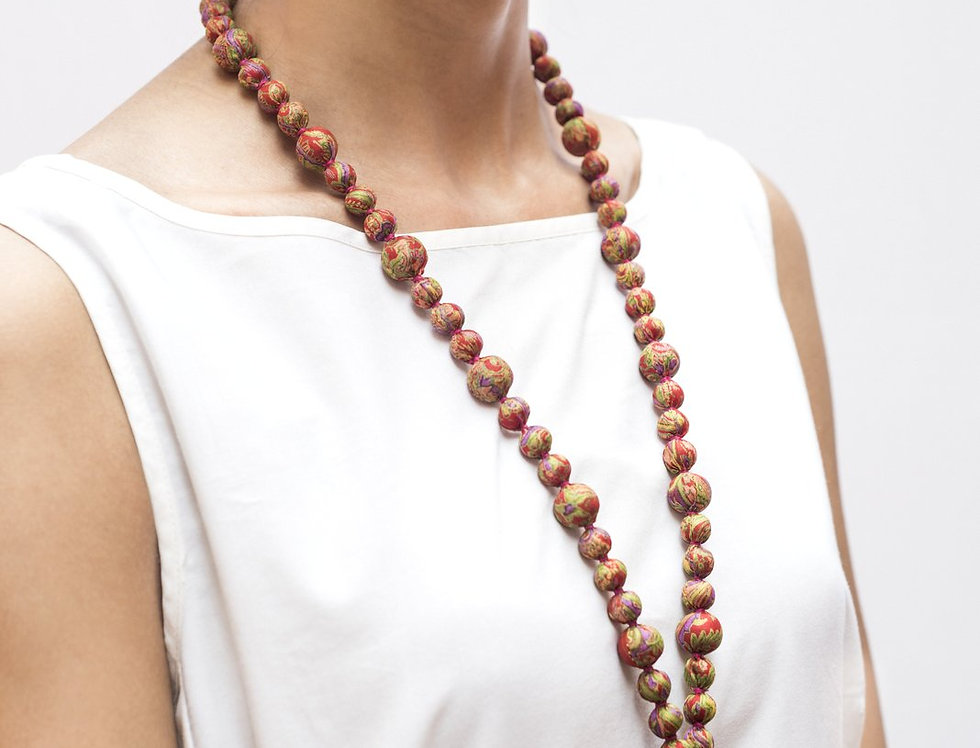Sari Bead Necklace - jhumka | red print
