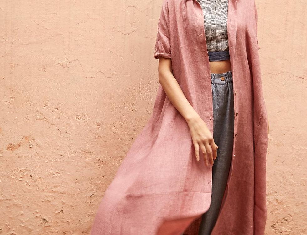 Natural Dye Linen Artist Dress | rouge
