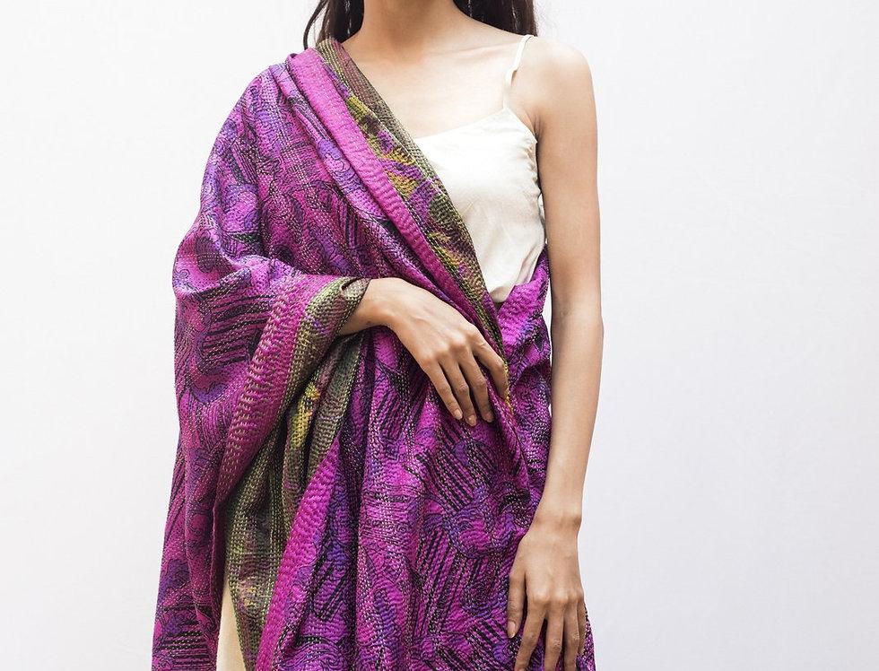 Kantha Sari Wrap   magenta & peacock green