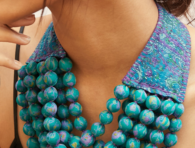 Kantha Beaded Necklace | turquoise by teal