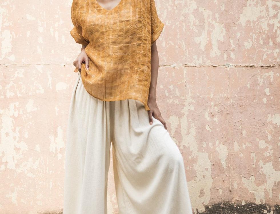 Lineya Linen Box Top | saffron & silver