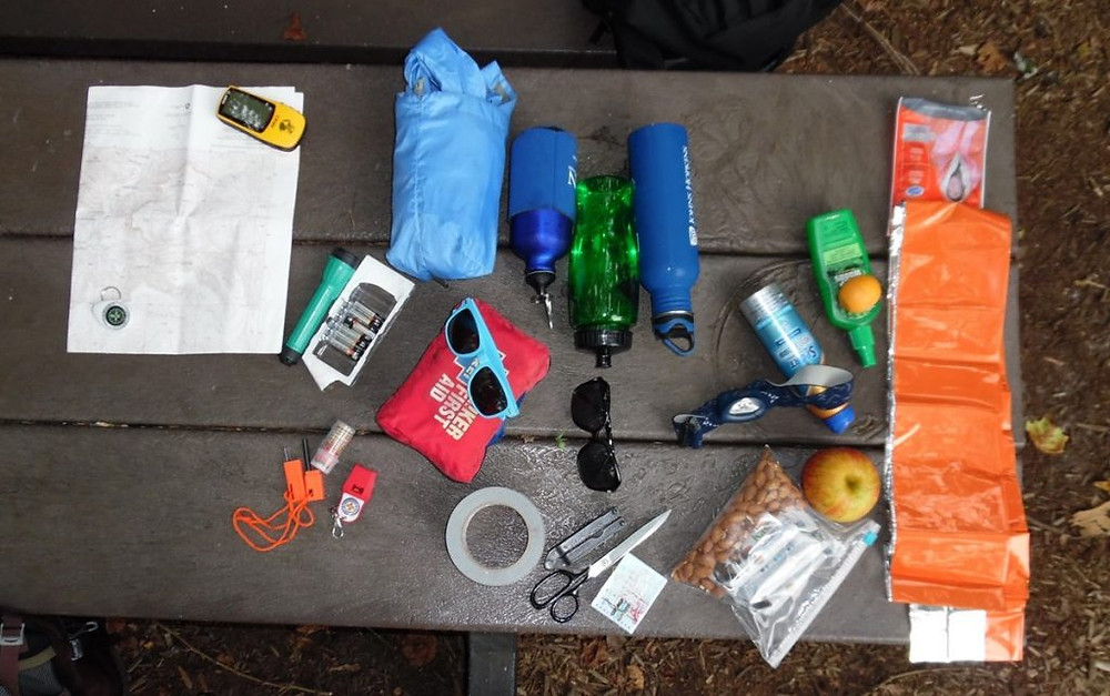 Map, water bottle, glasses and windbreaker