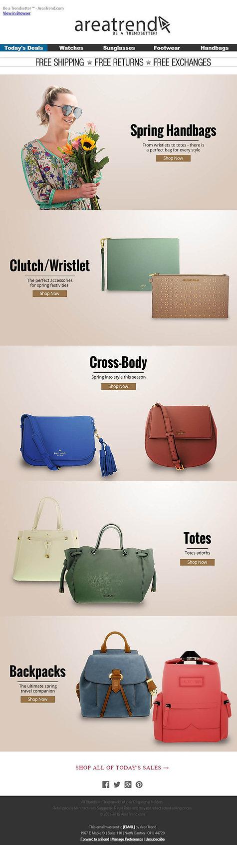 area trend handbag emailer