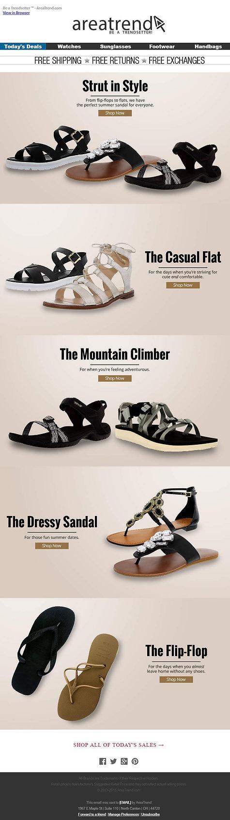 area trend footwear emailer