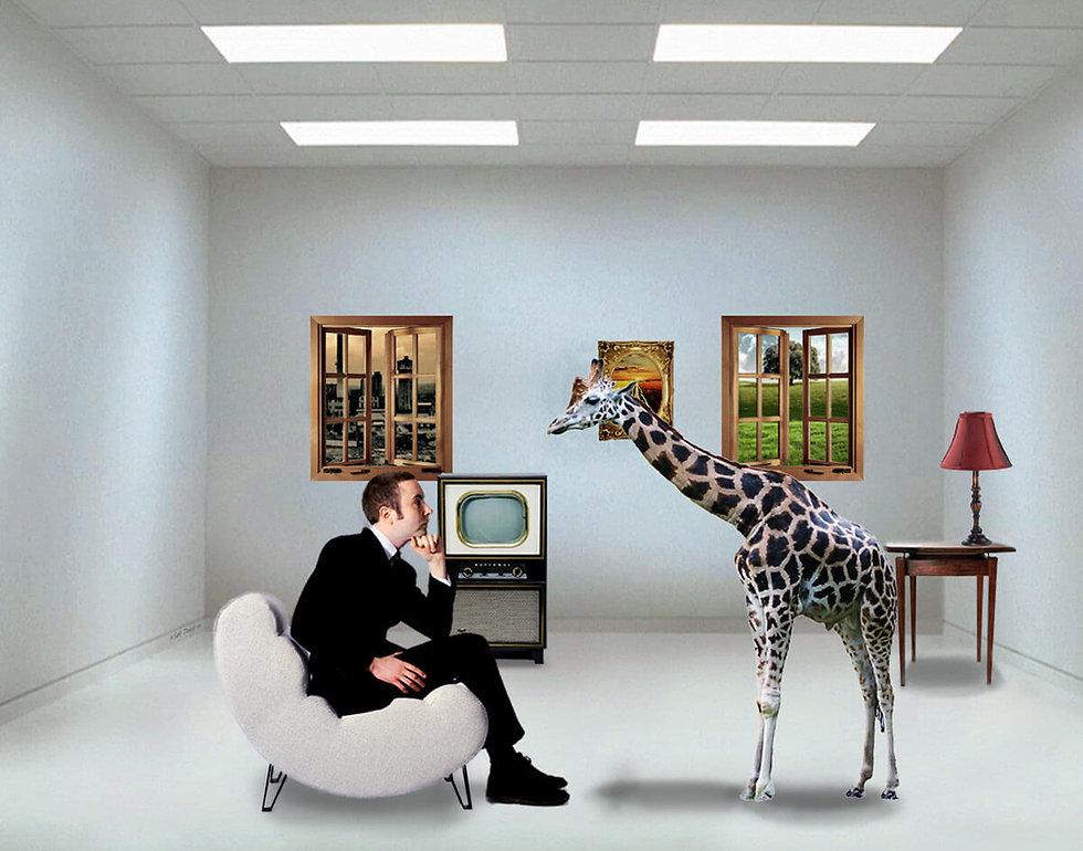 matt brady art man contemplating giraffe