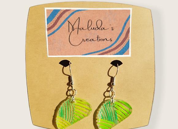 Black & Green lined style earrings