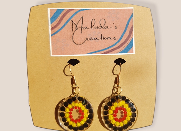 Black, yellow and red dot earrings