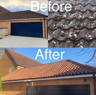 Before and After Moss Removal And Roof Treatment