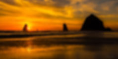 Cannon Beach sunset 60x30  lighter-2709.
