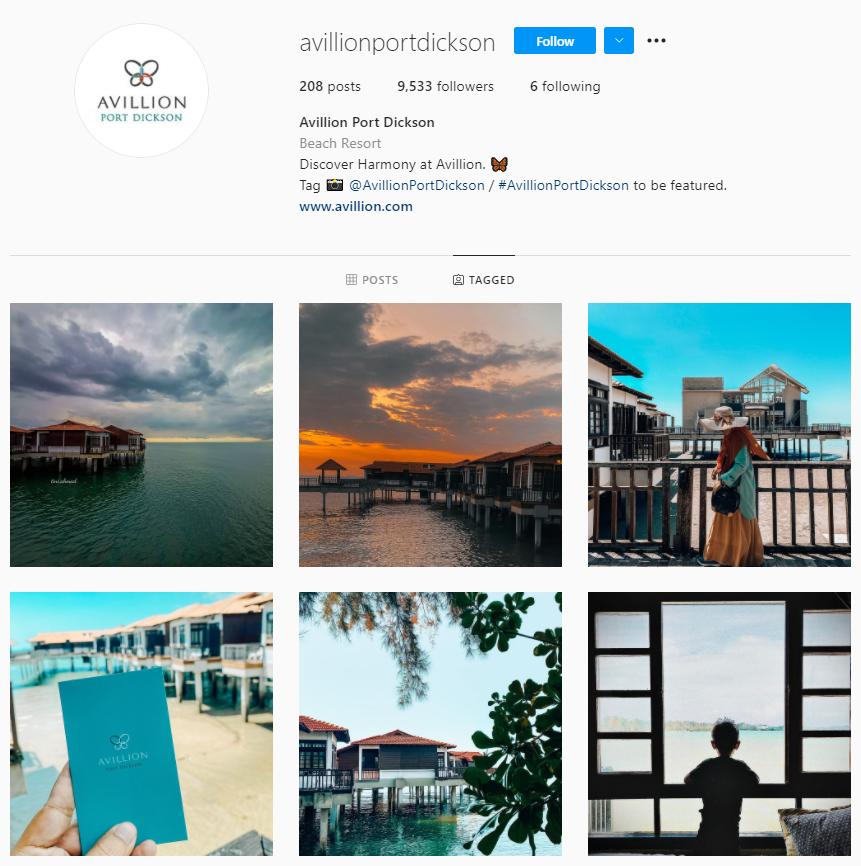 snapshot of Avillion Port Dickson Instagram page