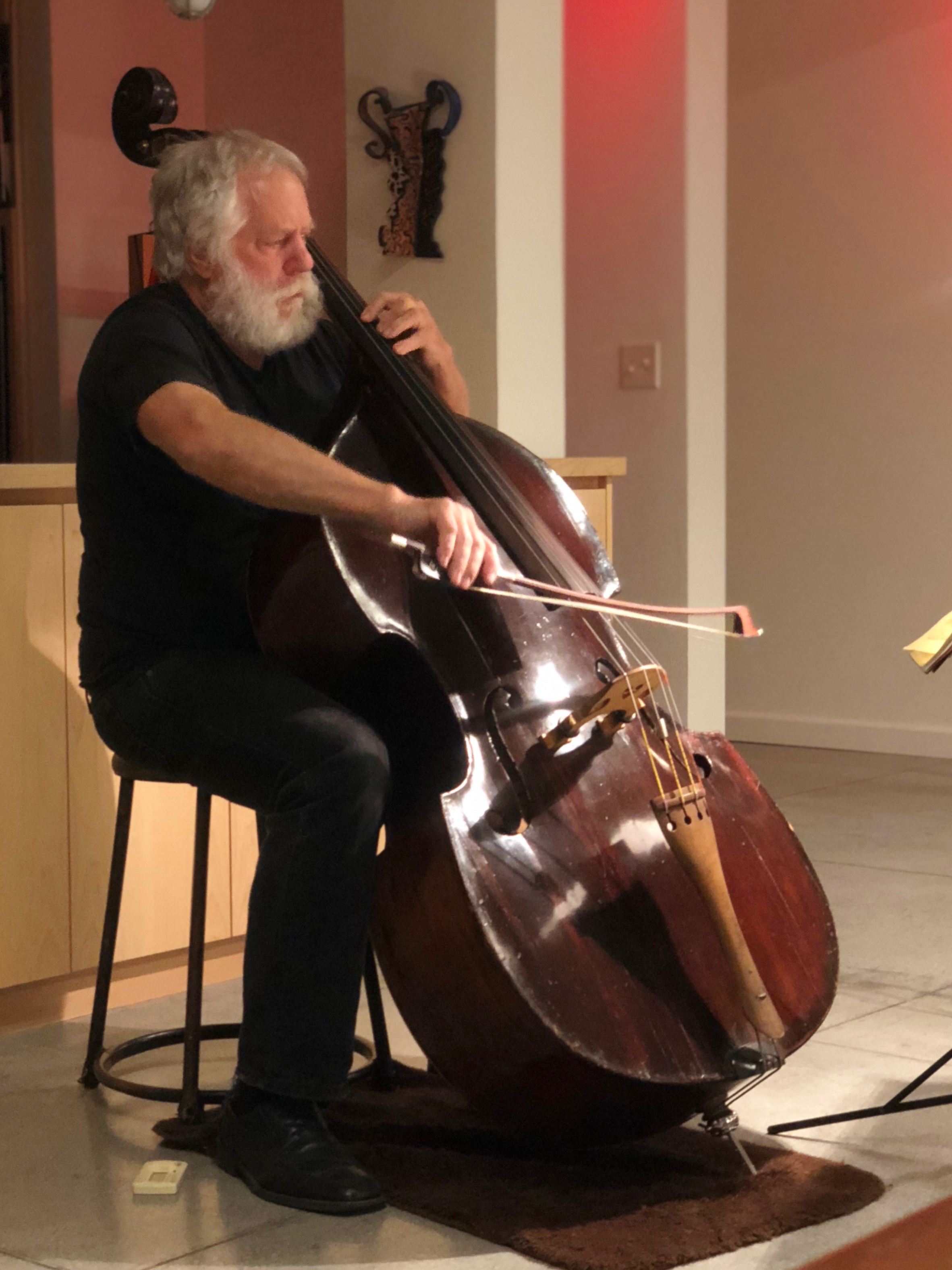 Impromptu double-bass recital