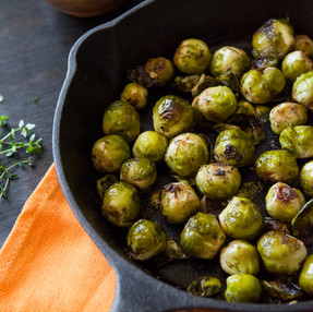 Oven Roasted Cast Iron Brussel Sprouts with Toasted Pine Nuts
