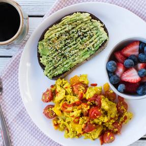 Vegan Tofu Scramble with Peppers & Onions | Healthy Breakfast Recipe + VIDEO