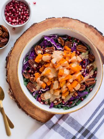 Kale Salad with Butternut Squash, Pomegranate, & Maple-Tahini Dressing - Vegan
