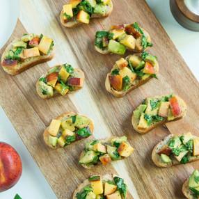 Peach, Avocado, & Basil Bruschetta | Vegan Summer Party Recipe + Video Collab!