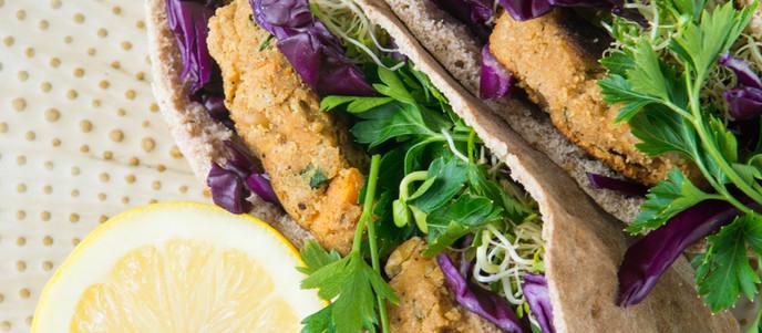 Chickpea Patty Pita Pocket Sandwiches - Vegan