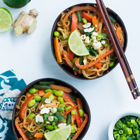 Vegan Pad Thai with a Homemade Peanut Butter and Sriracha Sauce - Easy Dinner for Two