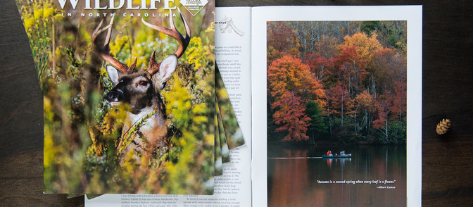 Fall 2018 Photo Publication in Wildlife in North Carolina Magazine - Canoe Ride on Price Lake