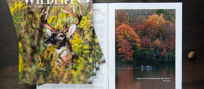 Fall 2018 Photo Publication in Wildlife in North Carolina Magazine - Canoe Ride on Price Lake