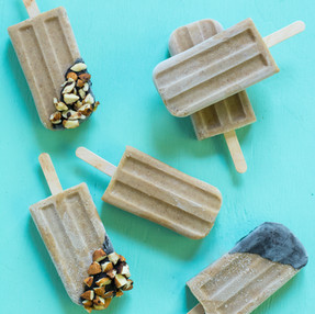Chocolate Dipped Roasted Almond Butter, Banana, & Cantaloupe Popsicle's | Vegan