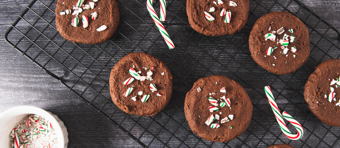 One Bowl Chocolate Peppermint Brownie Cookies - Vegan + GF