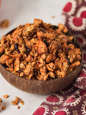 Apple Cranberry Almond Butter Granola - Vegan