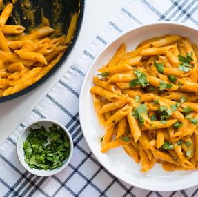 Pumpkin Penne Pasta - Vegan & Oil Free! (recipe + video)