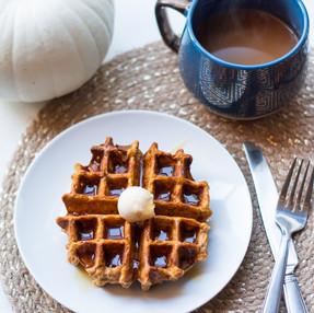 Whole Wheat Pumpkin Spice Belgian Waffles | Vegan Fall Breakfast Recipe