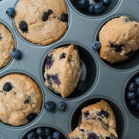 Weekend Morning Vegan Blueberry Muffins - oil free! + Video!