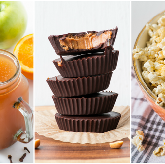 "Simple Vegan Fall Halloween Snacks (slow cooker cider, peanut butter cups, & ""cheesy"" popcorn)"