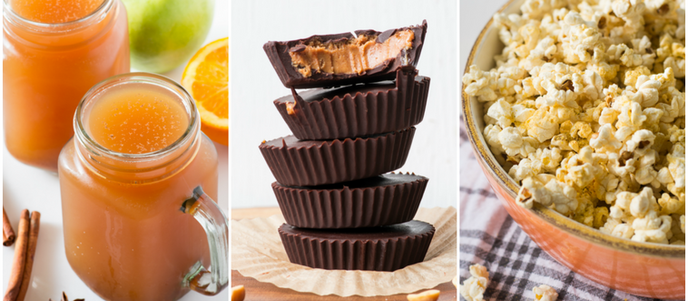"""Simple Vegan Fall Halloween Snacks (slow cooker cider, peanut butter cups, & """"cheesy"""" popcorn)"""