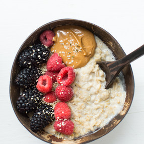 Cashew Milk Oatmeal Bowl with Peanut Butter & Berries